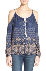 Junior Women's Socialite Print Cold Shoulder Top Navy Peach