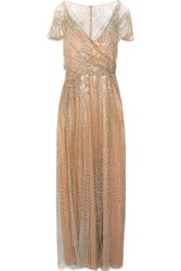 Jenny Packham Sequined Tulle Gown Gold