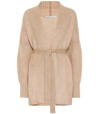 Agnona Wool And Mohair Blend Cardigan Beige