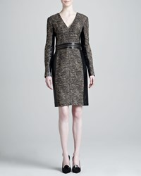 J. Mendel Tweed Leather Panel Dress Women's