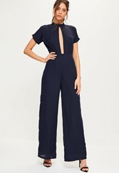 Missguided Navy High Neck Keyhole Wide Leg Jumpsuit