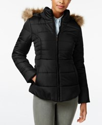 Rampage Faux Fur Trim Hooded Ruched Puffer Coat Only At Macy's Black