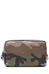 Valentino Printed Wash Bag With Rockstuds Green