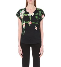 Ted Baker Ina Floral Print T Shirt Black