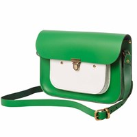 N'damus London Emerald And White Leather 11 Inches Mini Pocket Satchel Green