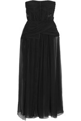 Zuhair Murad Gathered Silk Chiffon And Tulle Bustier Top Black