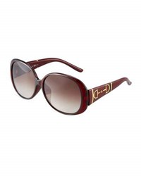 Gucci Oversized Round Plastic Sunglasses W Horsebit Temples Red White