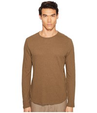 Vince Raw Hem Long Sleeve Linen Blend Crew Neck T Shirt Tobacco Men's T Shirt Brown