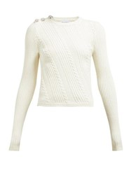 Ganni Crystal Button Cotton Blend Sweater Ivory