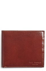 Ted Baker Men's London Twopin Leather Bifold Wallet Brown Tan