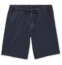 Loro Piana Stretch Linen And Cotton Blend Drawstring Shorts Navy