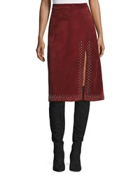 A.L.C. Aimee Studded Suede Skirt Bordeaux Wine