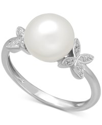 Macy's Cultured Freshwater Pearl 9Mm And Diamond Accent Butterfly Ring In Sterling Silver
