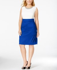 Connected Plus Size Embellished Colorblocked Sheath Dress Navy