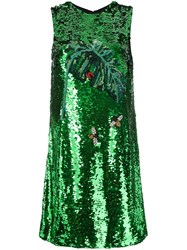 Dolce And Gabbana Sequined Dress Green