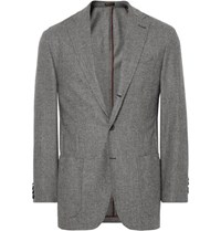 Rubinacci Grey Puppytooth Virgin Wool And Cashmere Blend Blazer Gray