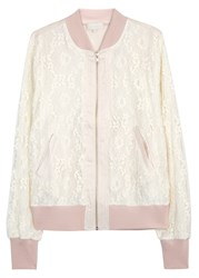 Clu Pale Pink Lace And Satin Bomber Jacket Light Pink