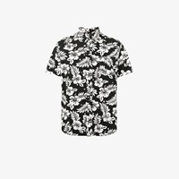 Uniform Experiment Hibiscus Print Short Sleeve Shirt Black