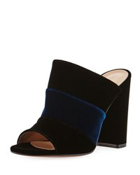 Gianvito Rossi Colorblock Velvet 100Mm Mule Sandal Black Pattern