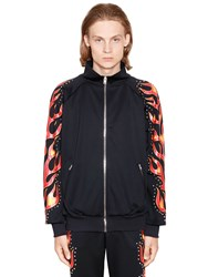 Moschino Flames Printed Studded Track Jacket Black