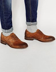Asos Oxford Shoes In Tan Waxed Suede Tan