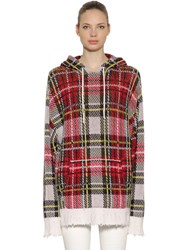 R 13 Oversized Cashmere Plaid Sweater Hoodie Multicolor