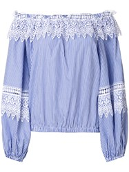 Forte Couture Off Shoulder Striped Lace Detail Blouse Cotton Polyester Blue