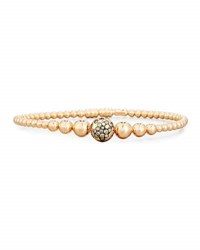 Riviere And Co. Graduated 18K Rose Gold Bead Bracelet With Brown Diamonds
