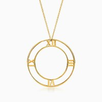 Tiffany And Co. Atlas Round Pendant In 18K Gold Large. 18K Yellow Gold