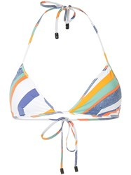 The Upside Striped Bikini Top White