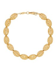 Lord And Taylor 14K Yellow Gold Oval Beaded Bracelet