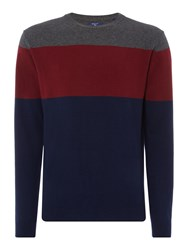 Gant Men's Block Stripe Crew Neck Knitted Jumper Navy Stripe