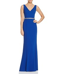 Js Collections Floral Embellished Waist Gown Royal