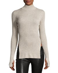 Cedric Charlier Metallic Knit Mock Neck Sweater Gold