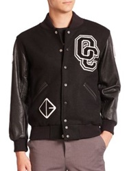 Opening Ceremony Logo Leather Sleeve Varsity Jacket Black
