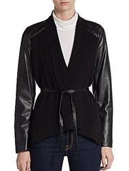 Saks Fifth Avenue Black Faux Leather Sleeve Combo Wrap Jacket Black