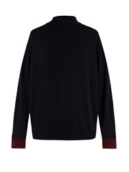 Marni Roll Neck Contrast Cuff Cashmere Sweater Navy