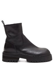 Ann Demeulemeester Exaggerated Leather Ankle Boots Black