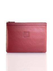 Shanghai Tang New Pebble Media Leather Pouch Large Burgundy