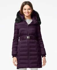 Dkny Quilted Down Puffer Parka Jacket Cabernet