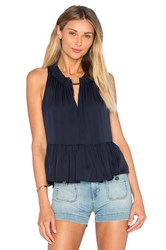 Rebecca Taylor Sleeveless Double Georgette Peplum Top Navy