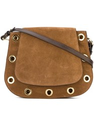 L'autre Chose Eyelets Detailing Crossbody Bag Brown