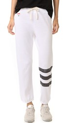 Sundry Stripes Heart Sweats White