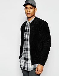 Solid Suede Bomber Jacket Black