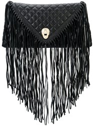 Thomas Wylde Fringed Quilted Clutch Women Lamb Nubuck Leather One Size Black