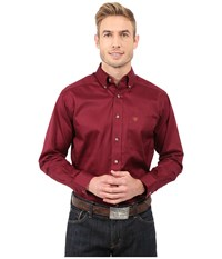 Ariat Solid Twill Shirt Burgundy Men's Long Sleeve Button Up