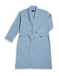 Black Brown Cotton Striped Robe Blue