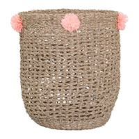 Bloomingville Seagrass Basket With Pom Poms Rose