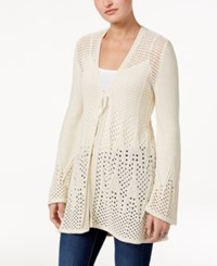Style And Co Co. Open Knit Tie Front Cardigan Only At Macy's Oatmeal Heather Ivory