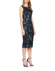 Theia Floral Printed Metallic Brocade Dress Navy Multi